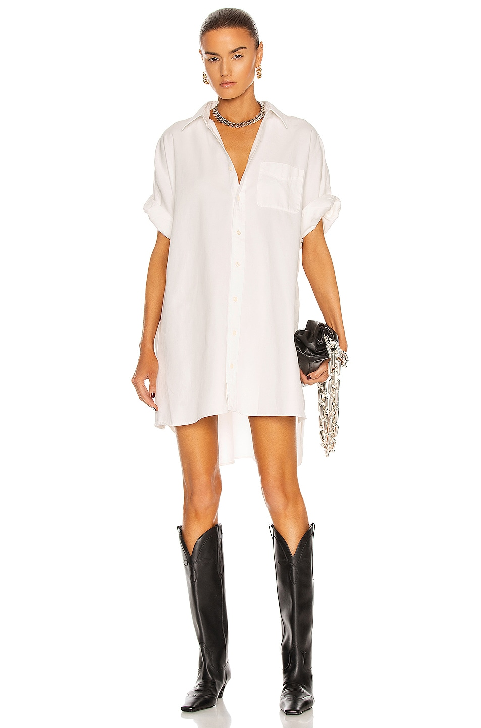 Image 1 of R13 Oversized Boxy Button Up Dress in White