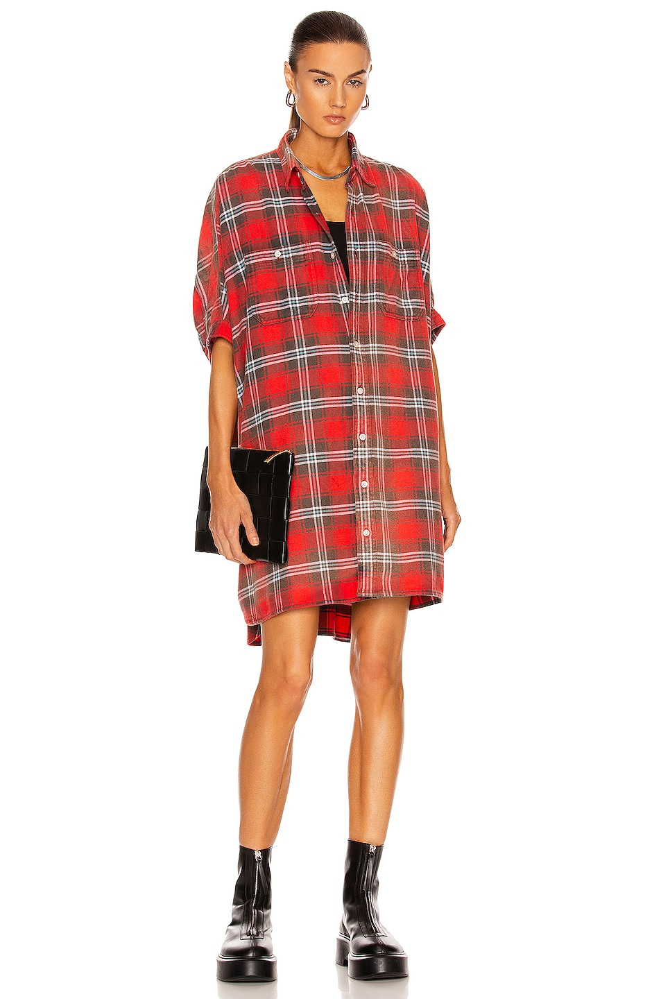 Image 1 of R13 Plaid Oversized Boxy Dress in Red Plaid