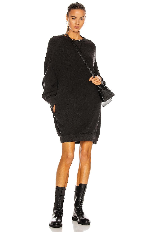 Image 1 of R13 Grunge Sweatshirt Dress in Sand Washed Black