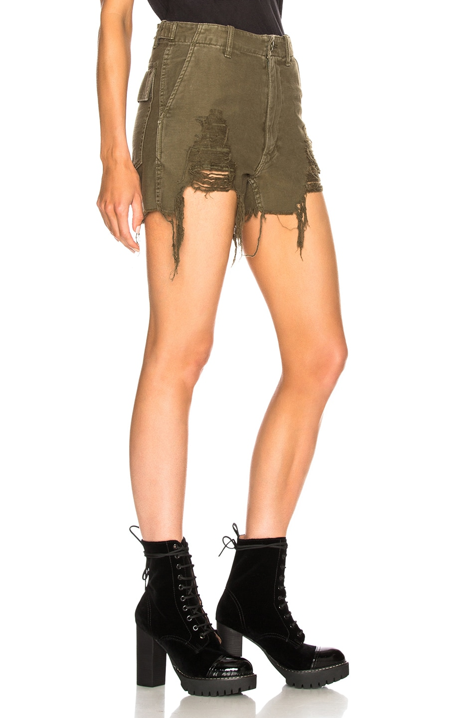 Image 2 of R13 Distressed Camp Shorts in Fatigue Olive