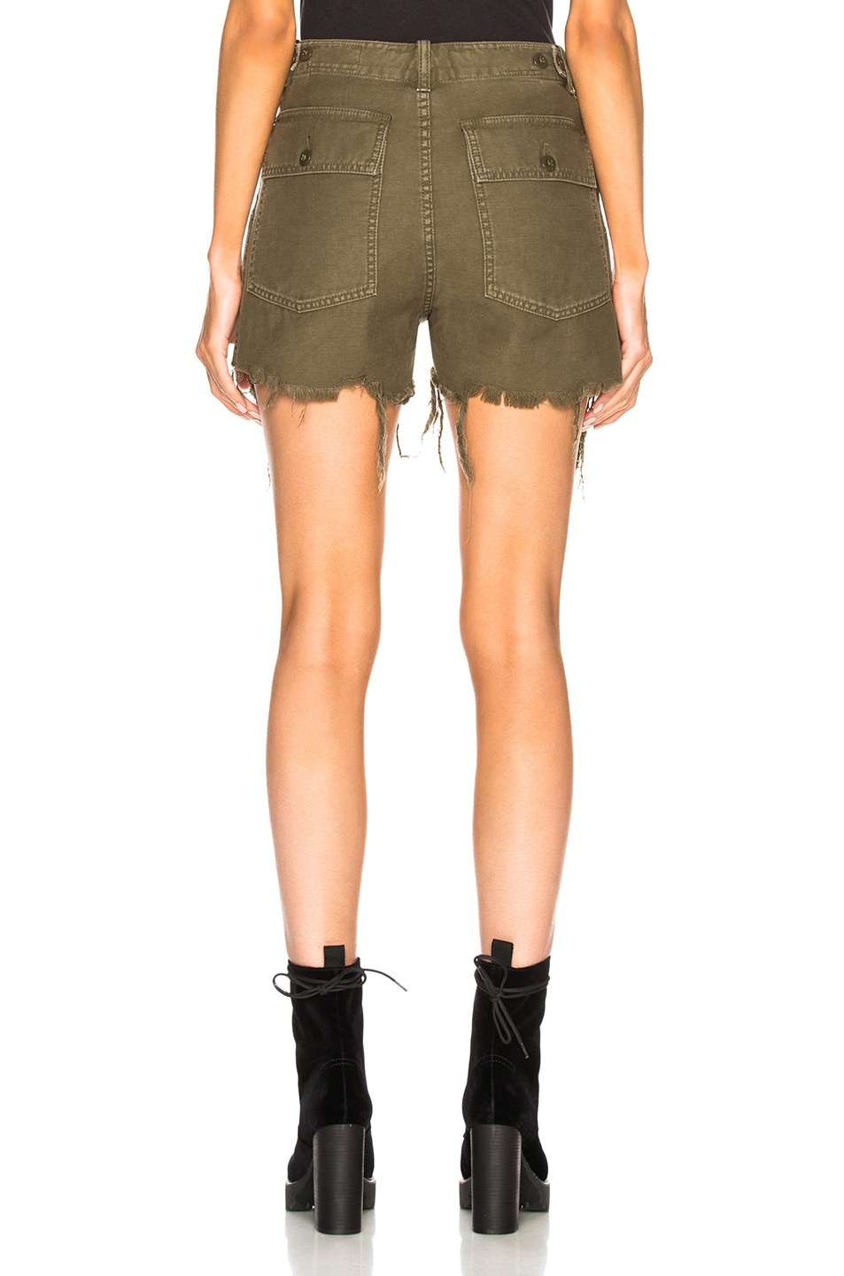 Image 3 of R13 Distressed Camp Shorts in Fatigue Olive