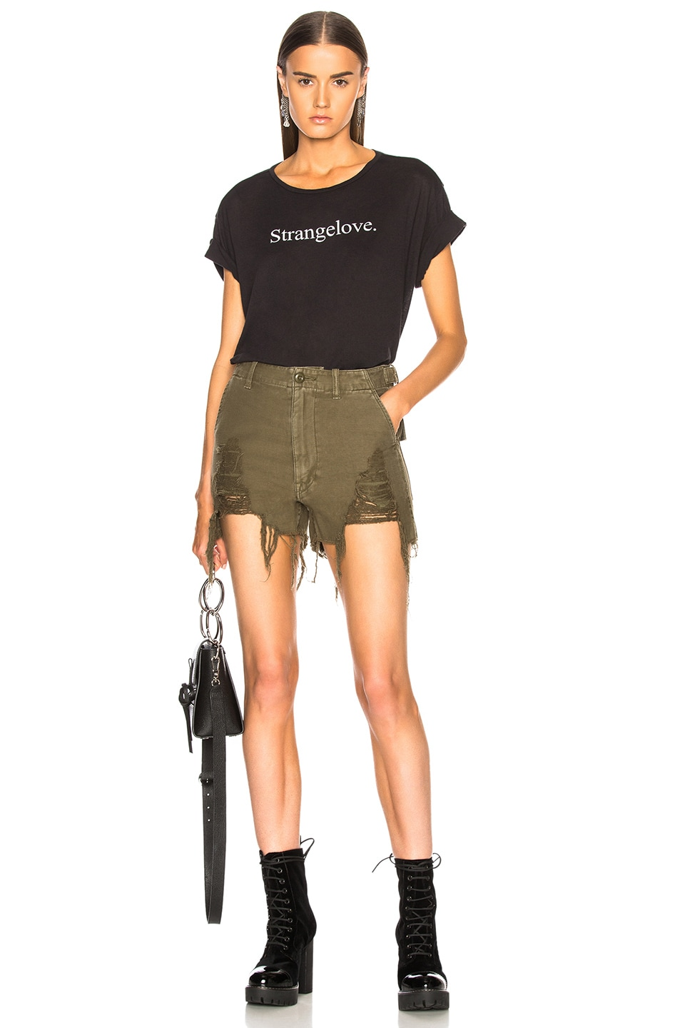 Image 4 of R13 Distressed Camp Shorts in Fatigue Olive