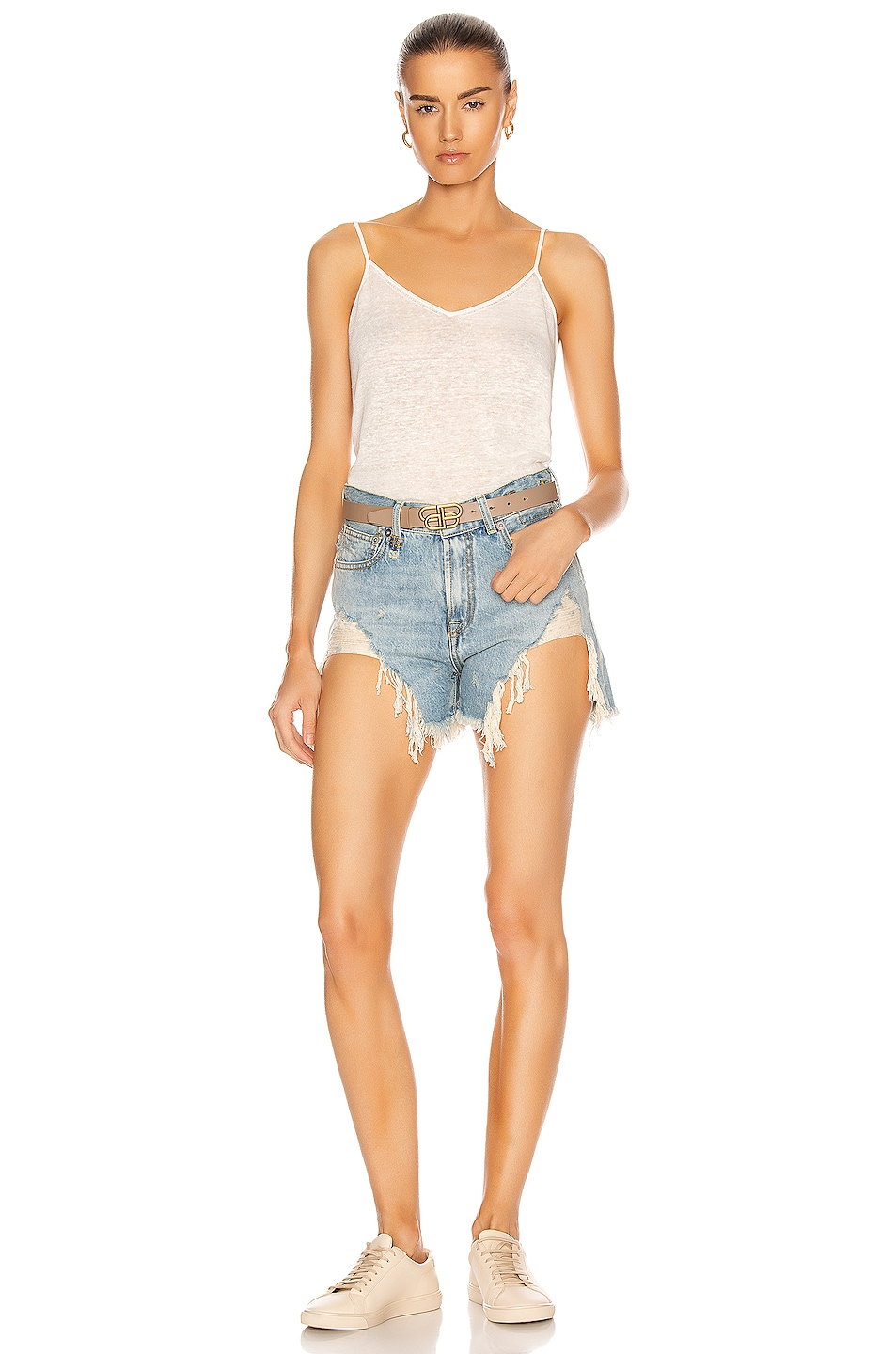 Image 4 of R13 Shredded Slouch Shorts in Tilly