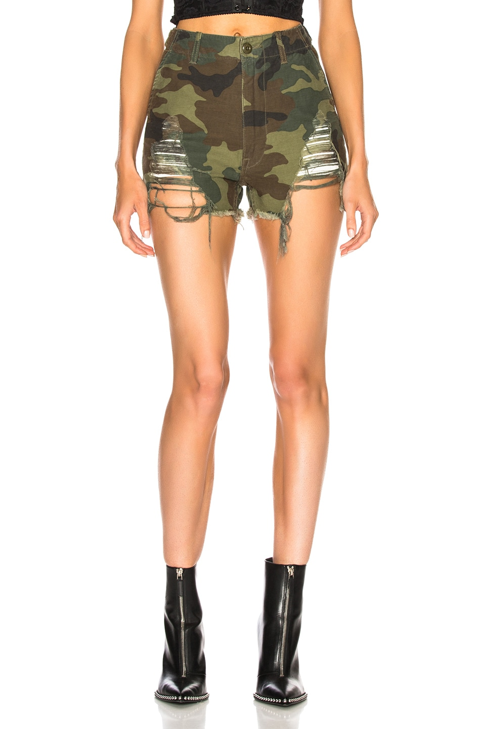 R13 DISTRESSED CAMP SHORTS IN CAMO,GREEN