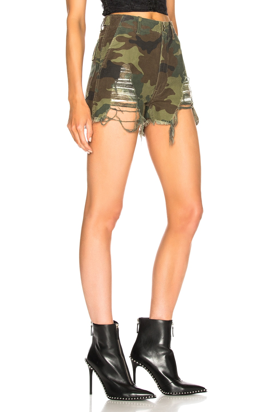 Image 2 of R13 Distressed Camp Shorts in Camo