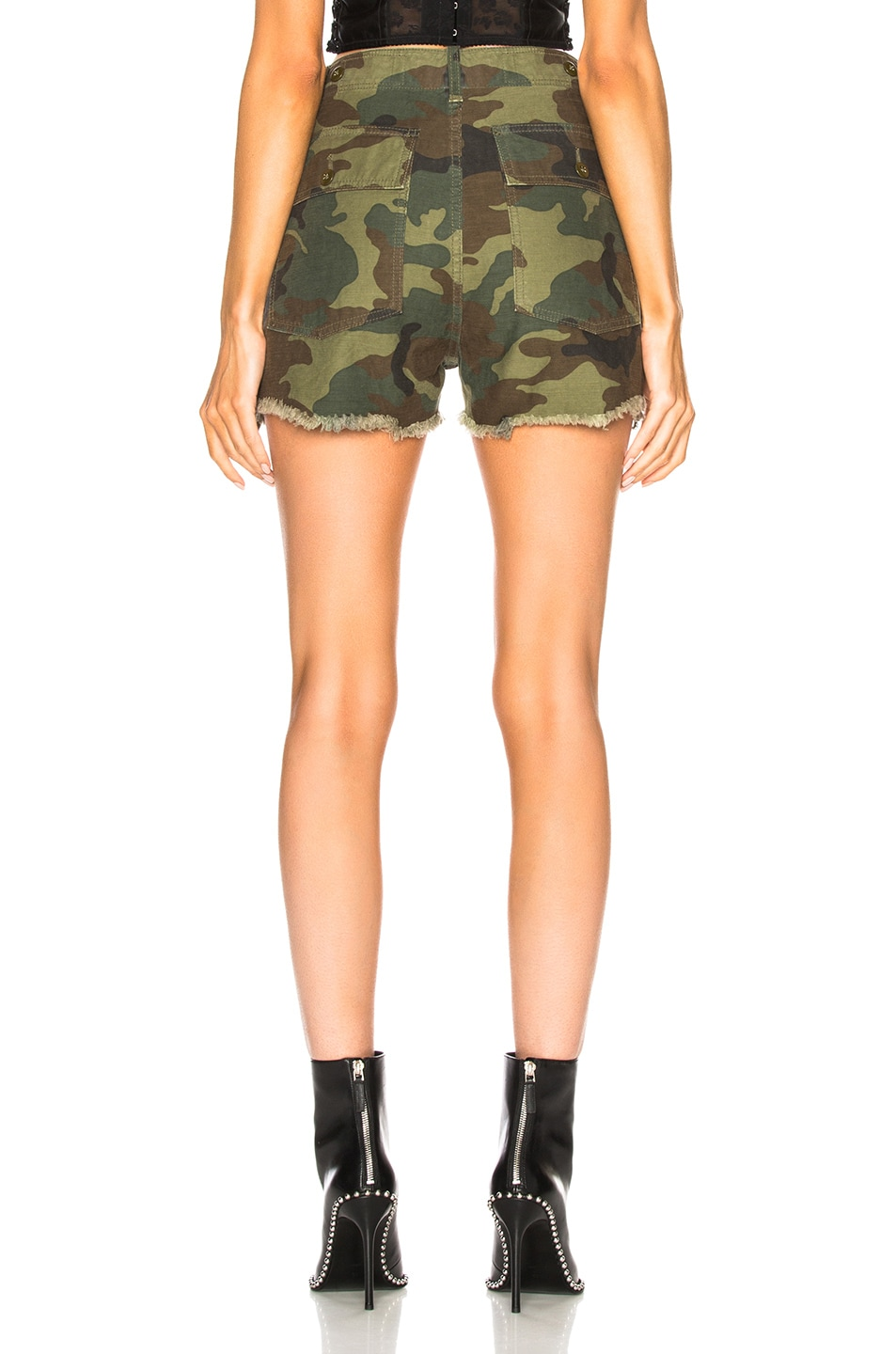 Image 3 of R13 Distressed Camp Shorts in Camo