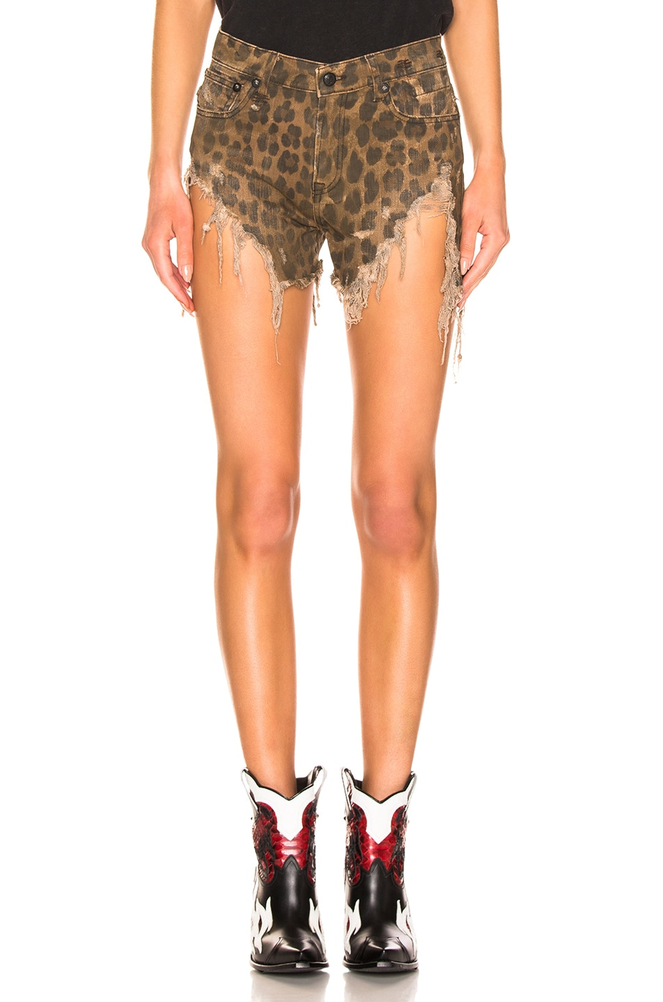 Image 1 of R13 Shredded Slouch Short in Leopard