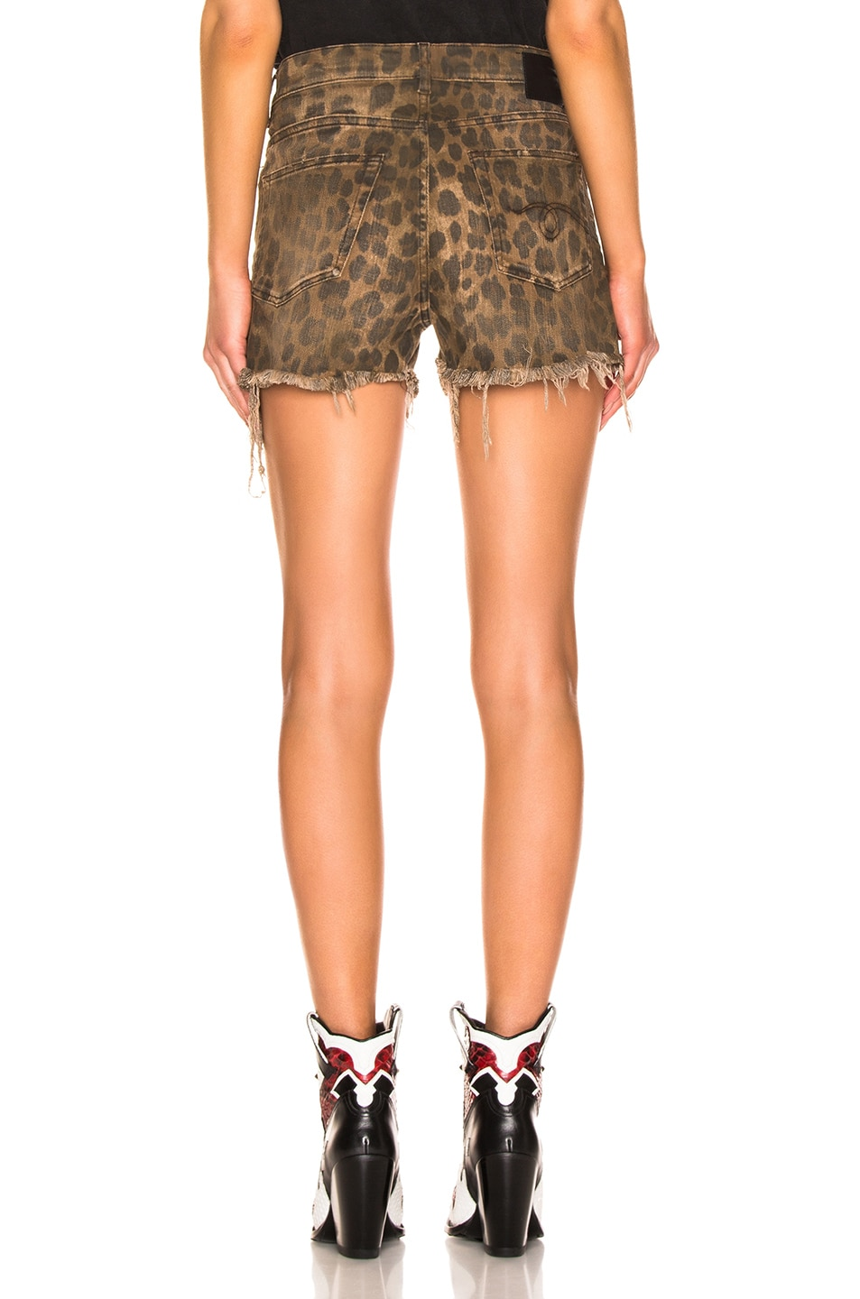 Image 3 of R13 Shredded Slouch Short in Leopard