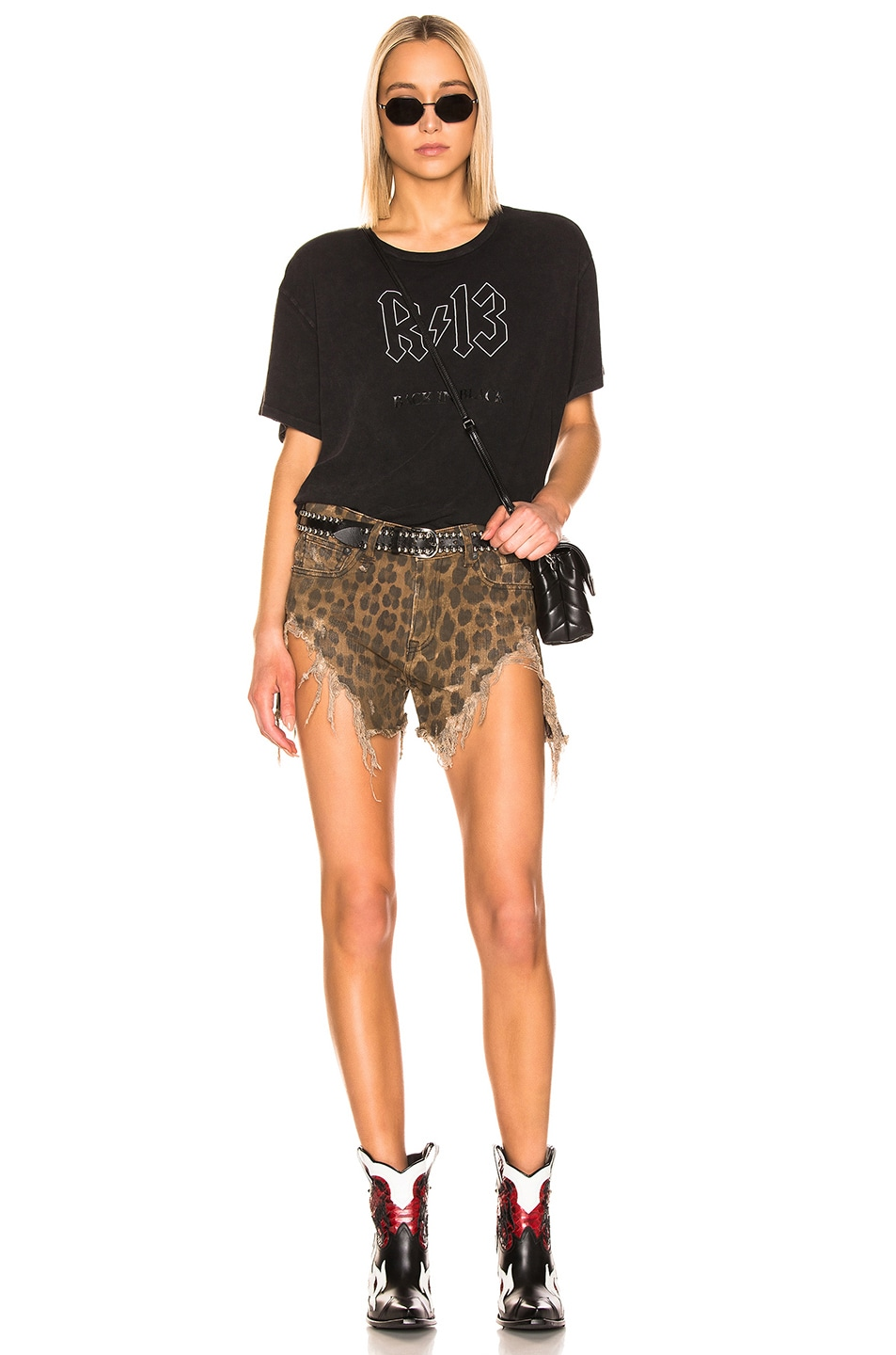 Image 4 of R13 Shredded Slouch Short in Leopard