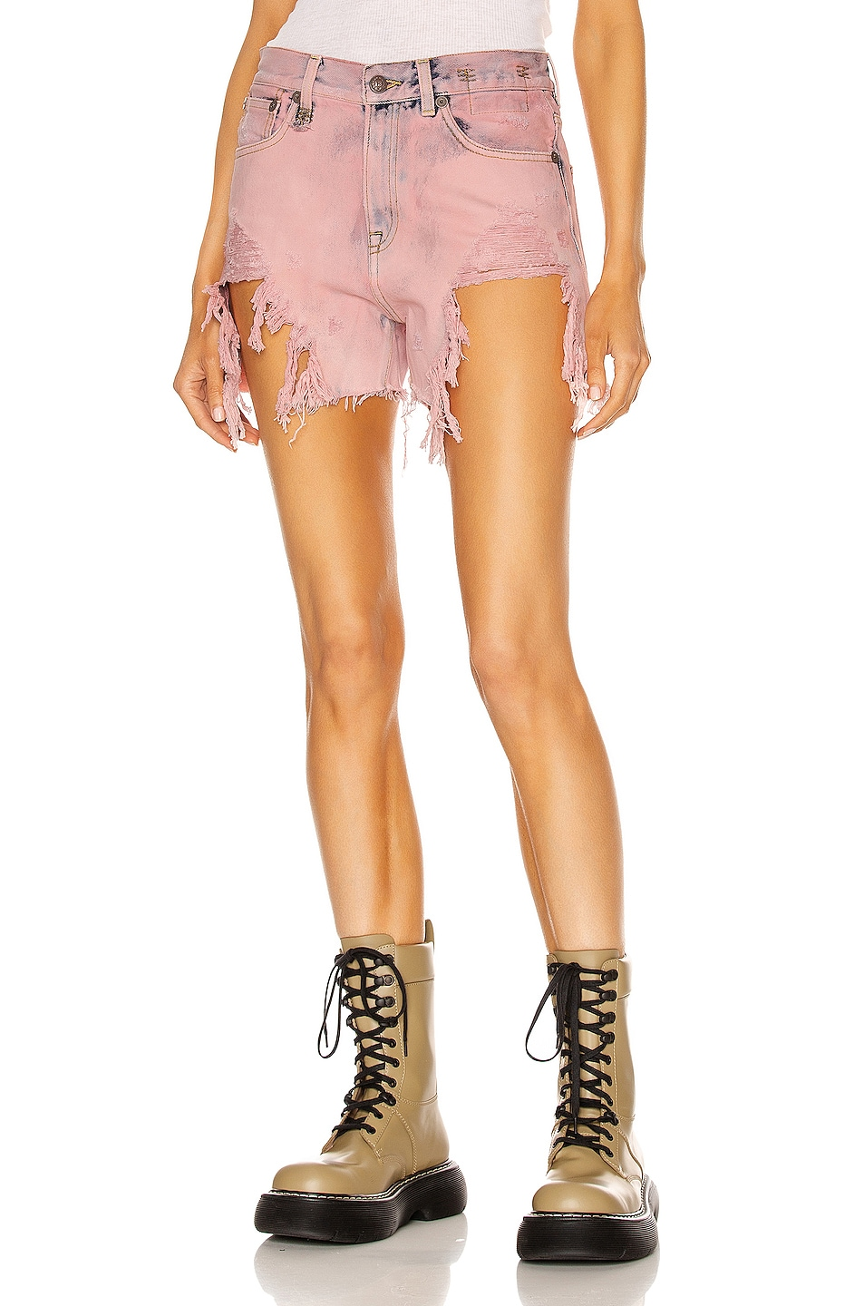 Image 1 of R13 Shredded Slouch Short in Faded Pink