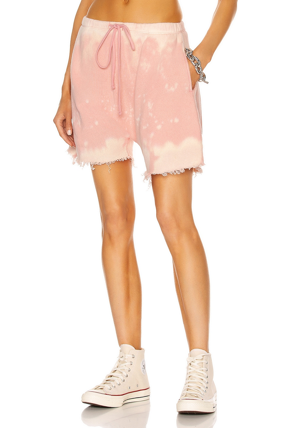 Image 1 of R13 Dropped Crotch Sweatshort in Bleached Pink