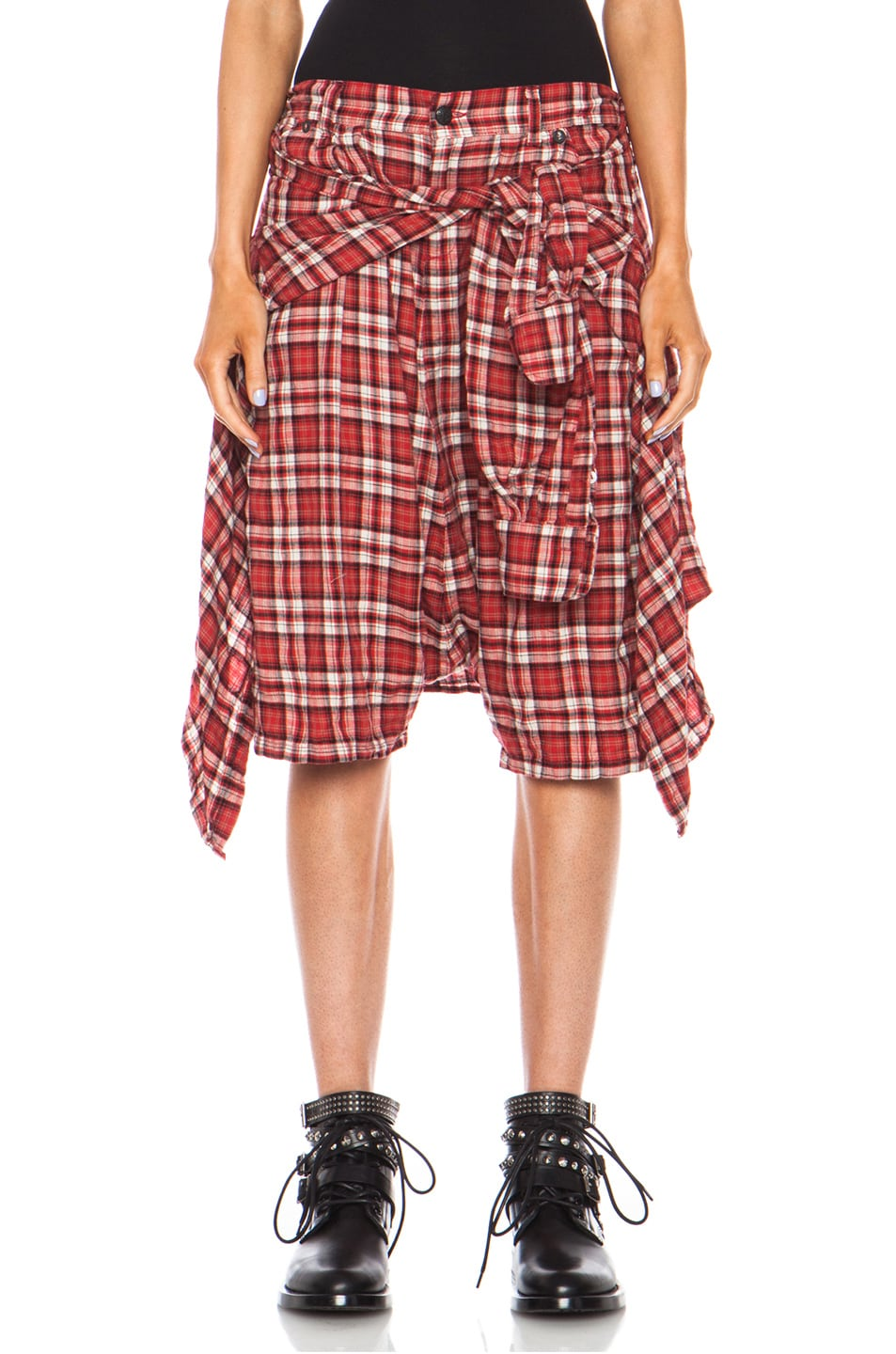 Image 1 of R13 Vedder Cotton Shorts in Red Plaid