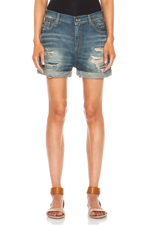Image 1 of R13 Shredded Shorts in Selvedge Blue Shredded