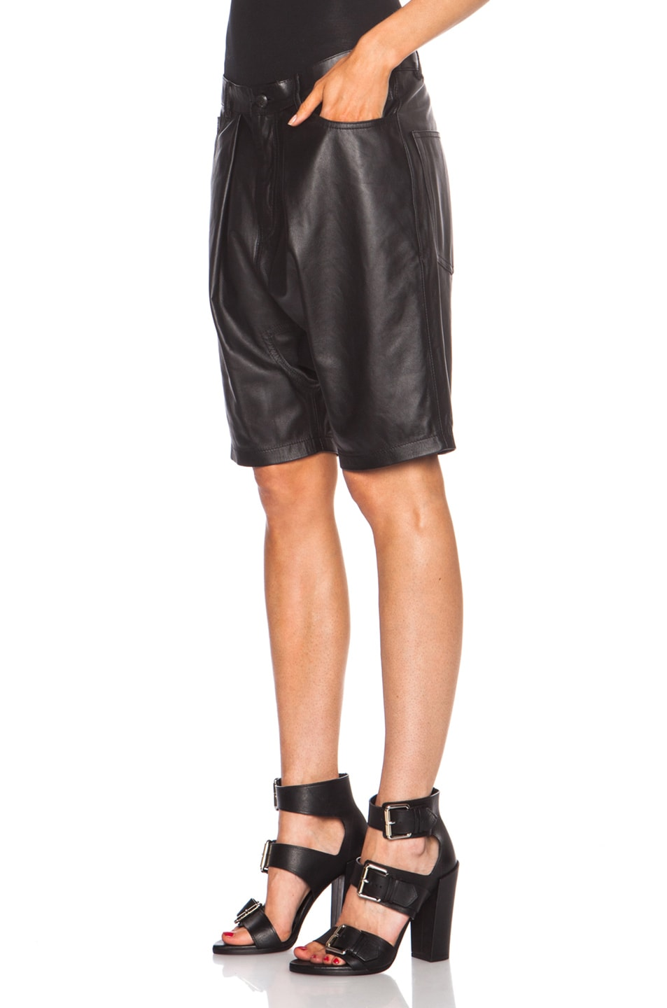 Image 2 of R13 Leather Harem Shorts in Black
