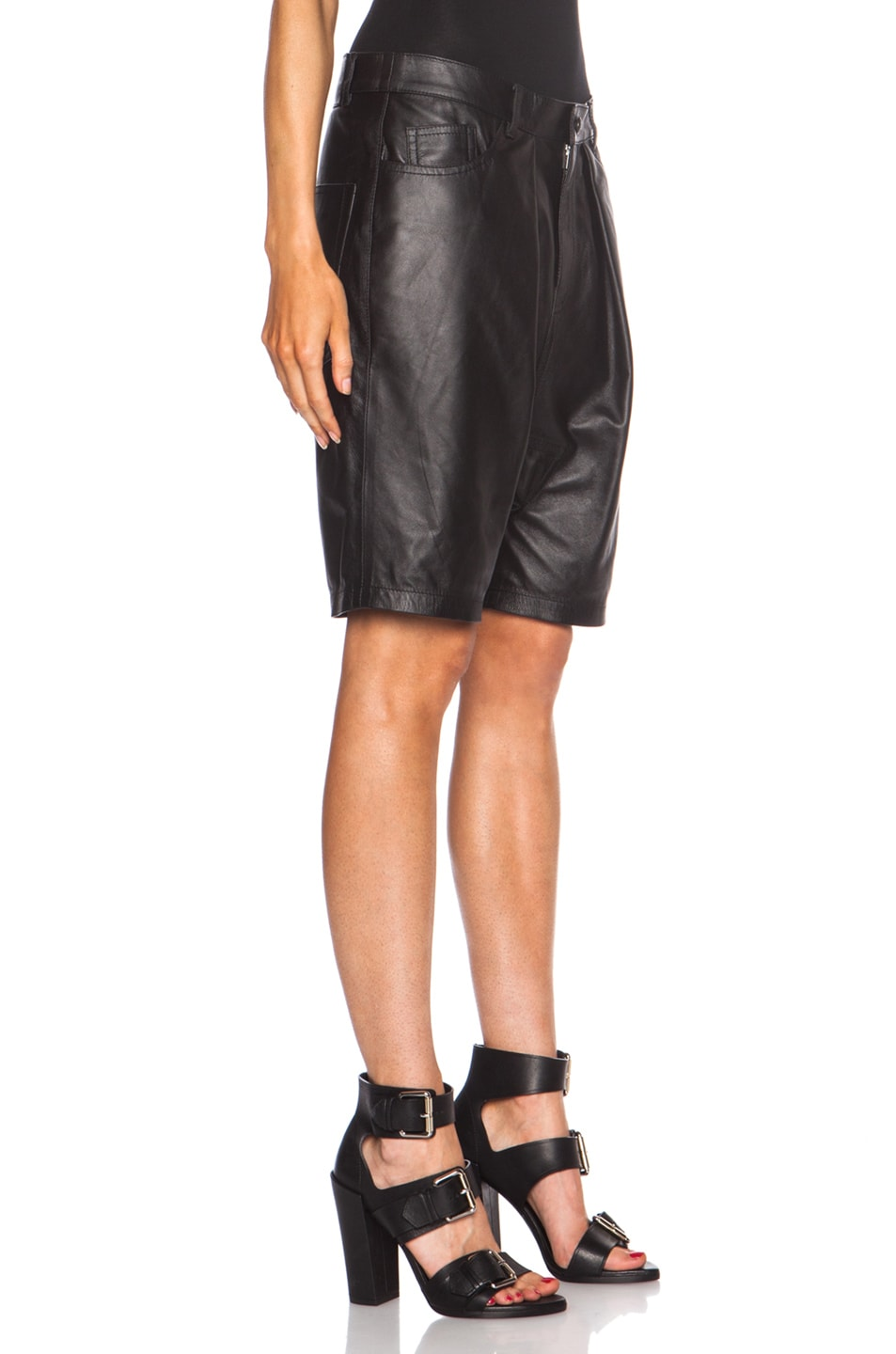 Image 3 of R13 Leather Harem Shorts in Black