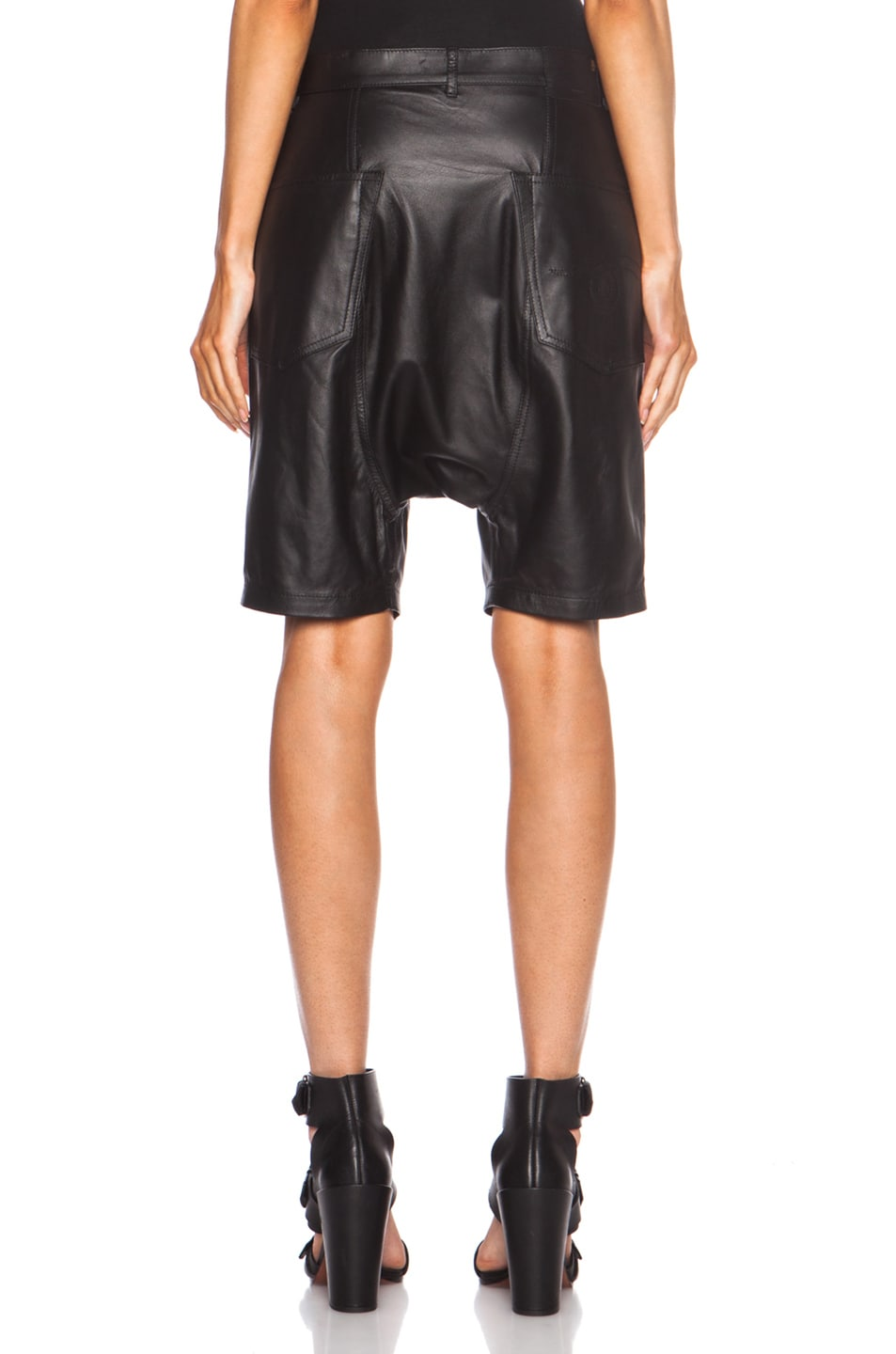 Image 4 of R13 Leather Harem Shorts in Black