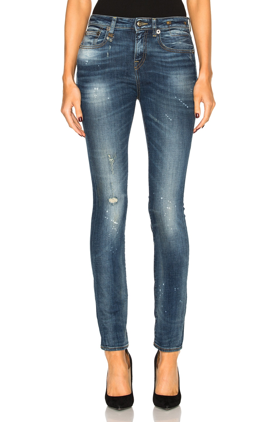Jenny Washed Blue mid rise skinny jeans R13 tgSeW