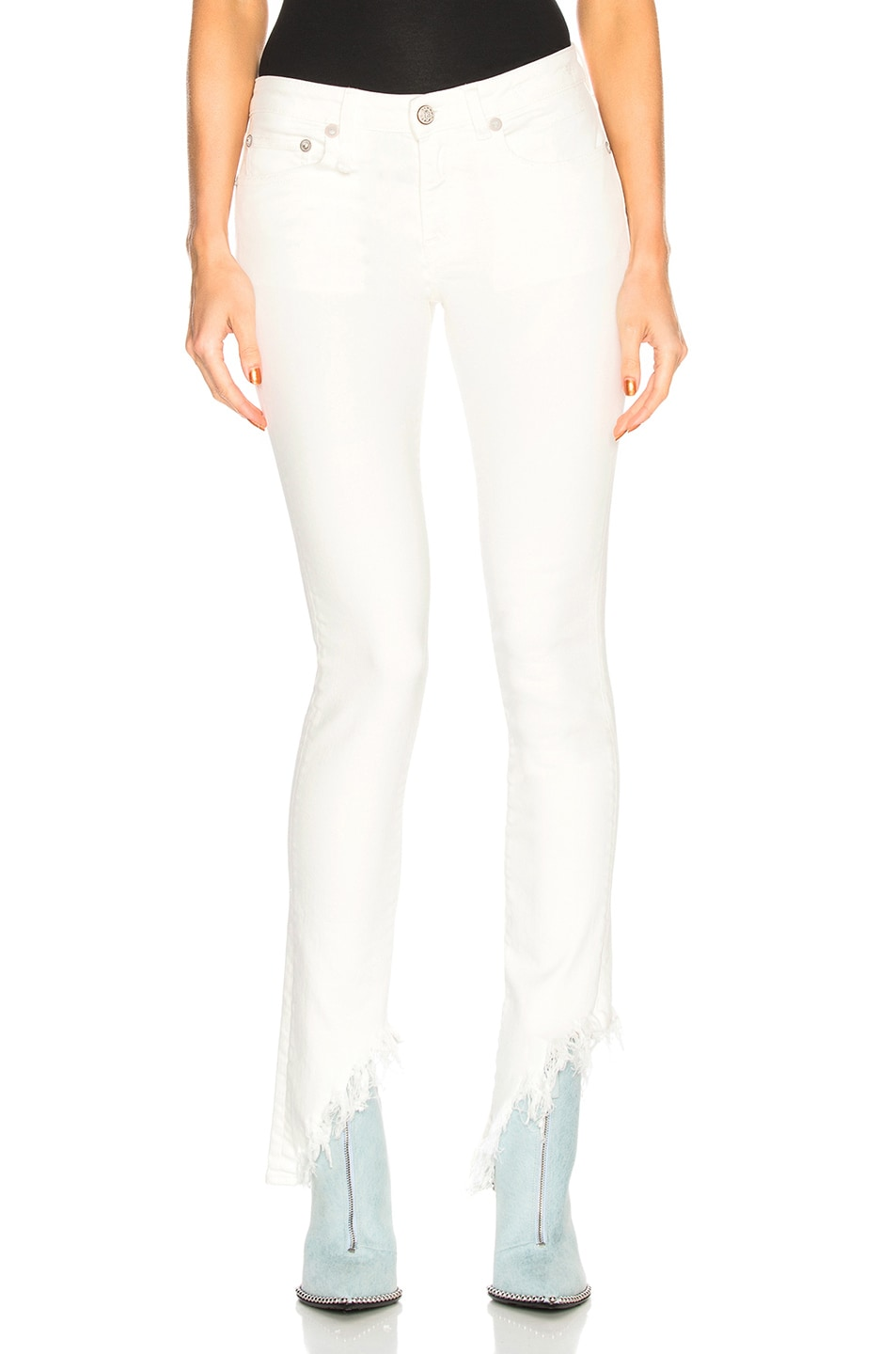 Image 1 of R13 Kate Skinny with Angled Hem in Garret White