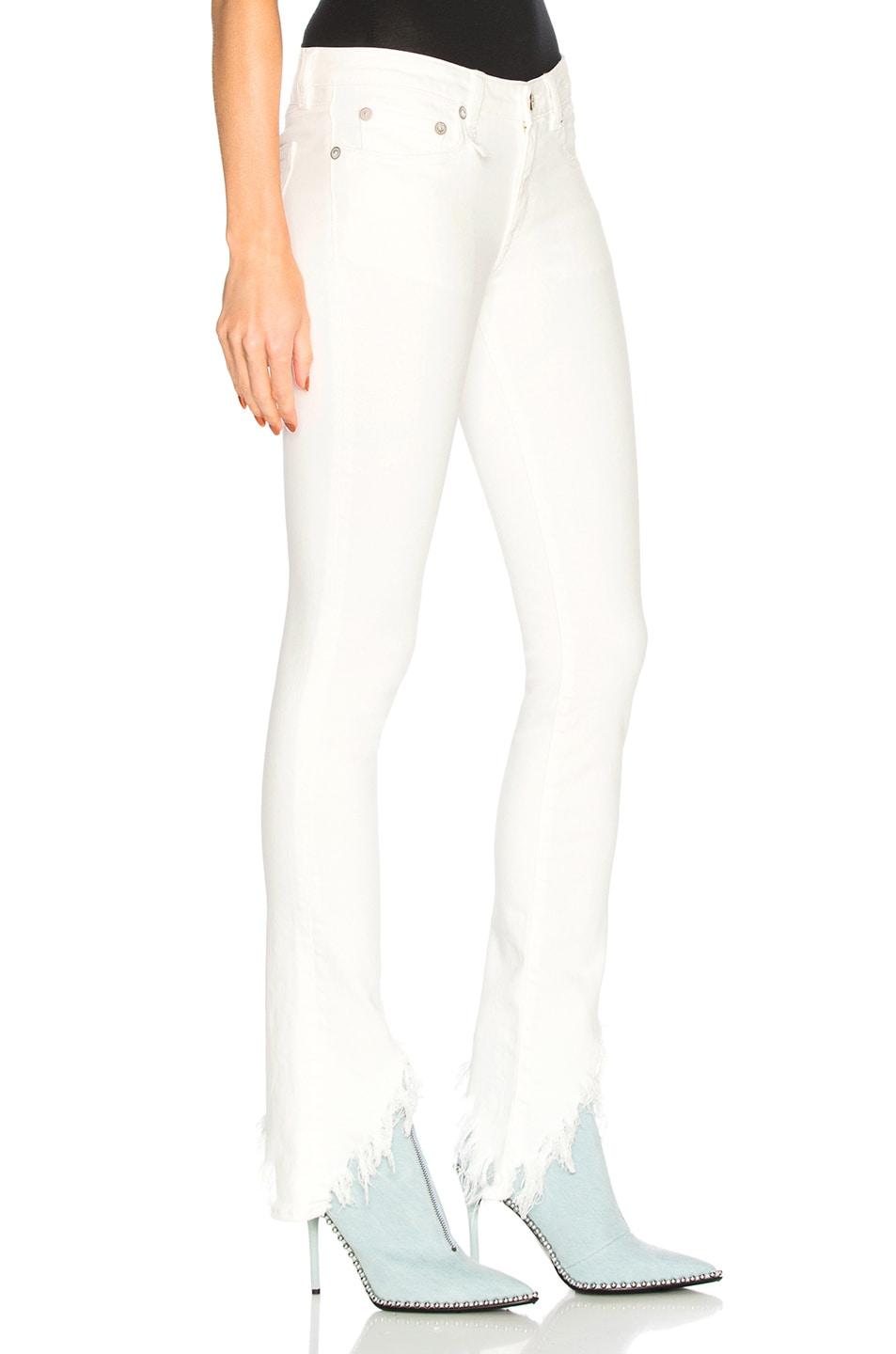 Image 2 of R13 Kate Skinny with Angled Hem in Garret White