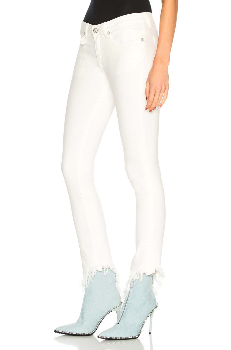 Image 3 of R13 Kate Skinny with Angled Hem in Garret White