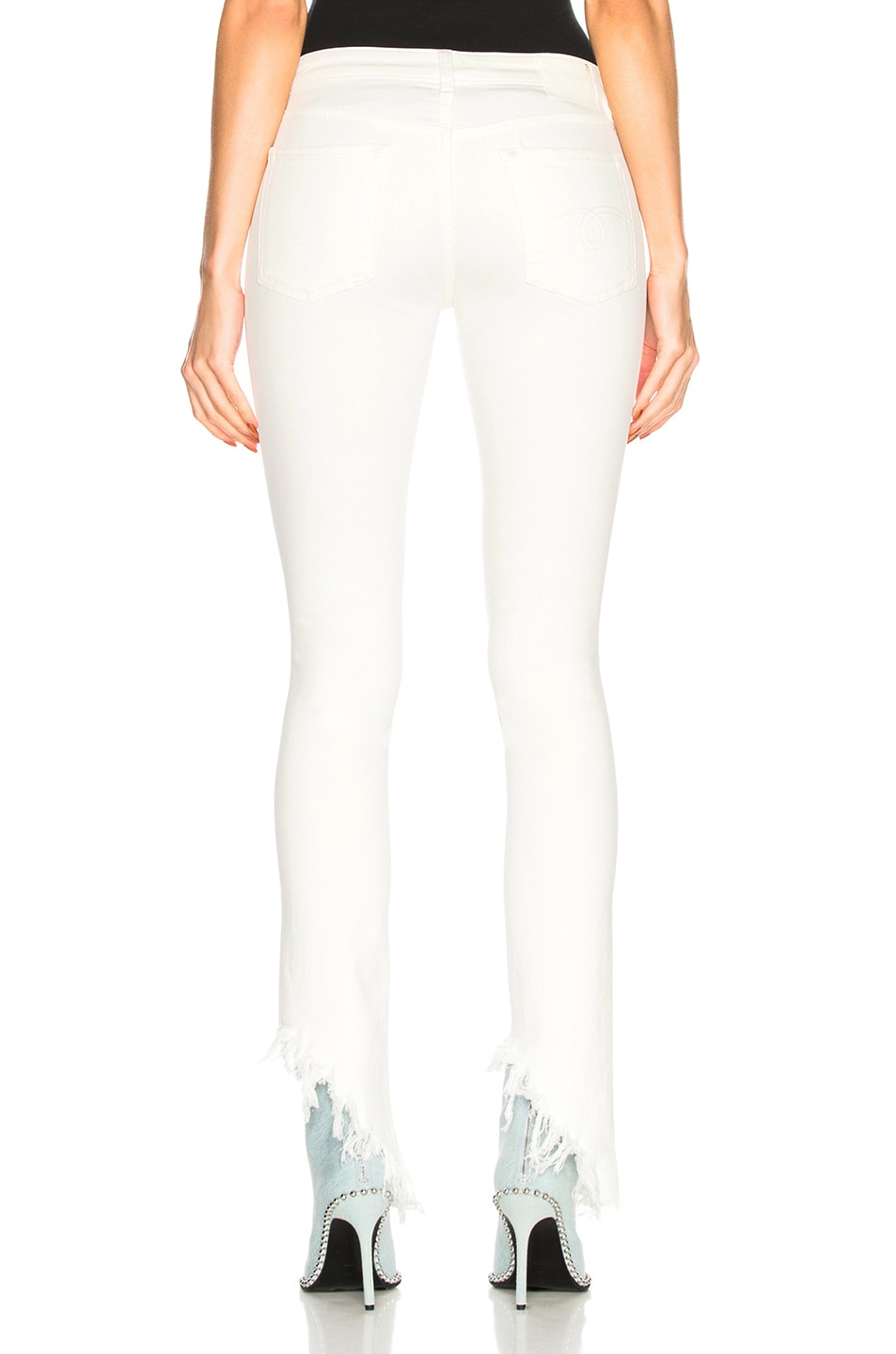 Image 4 of R13 Kate Skinny with Angled Hem in Garret White