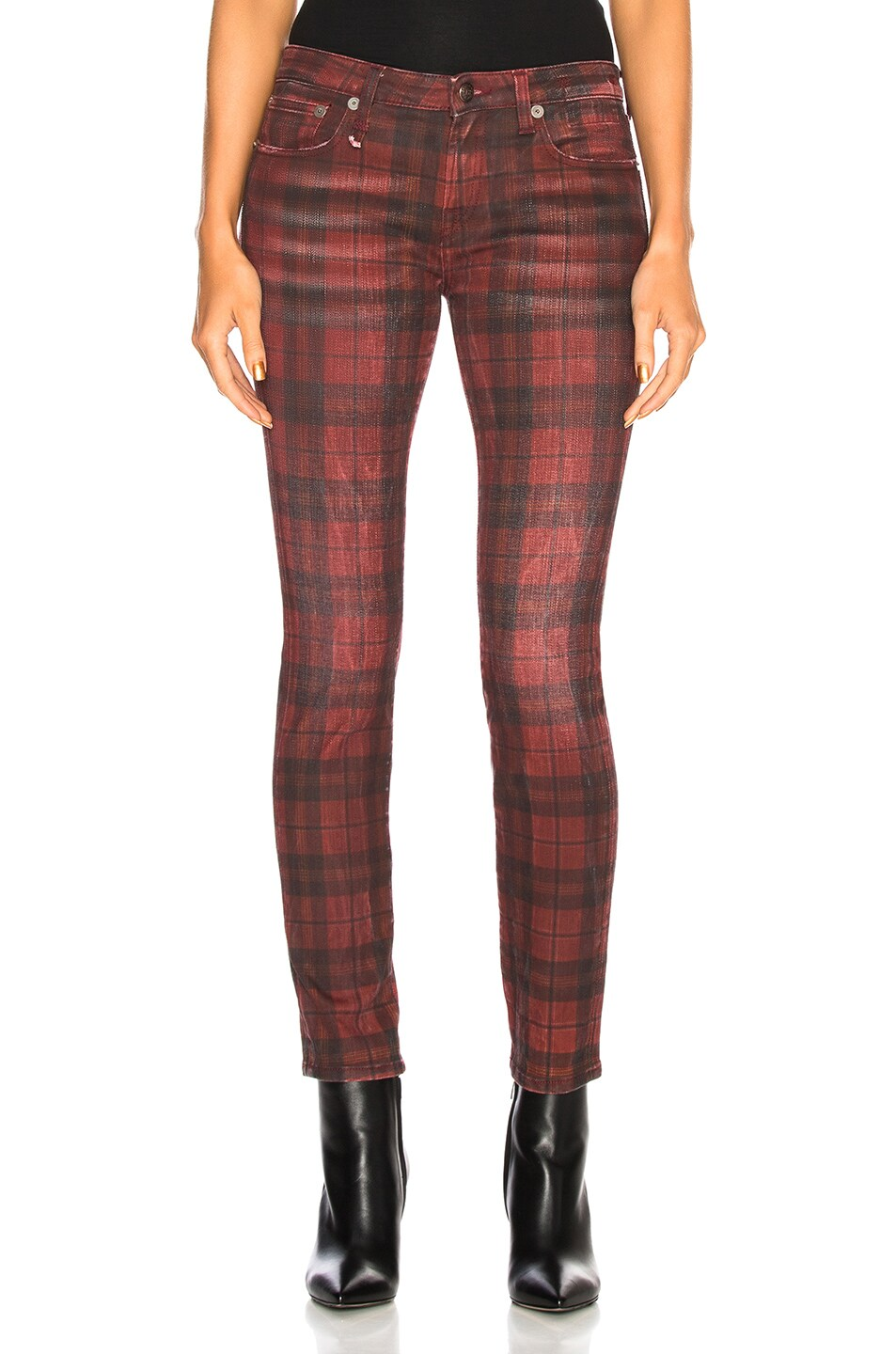 Image 1 of R13 Kate Skinny Jeans in Red Plaid