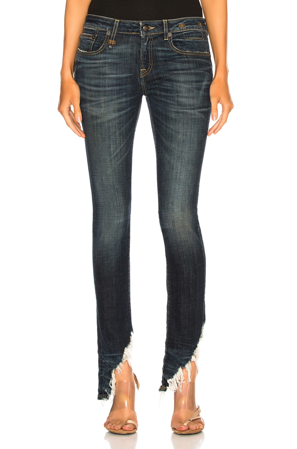 Image 1 of R13 Kate Skinny with Angled Hem in Howell Indigo