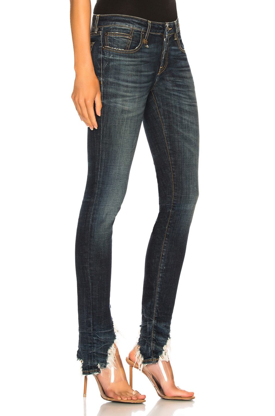 Image 2 of R13 Kate Skinny with Angled Hem in Howell Indigo