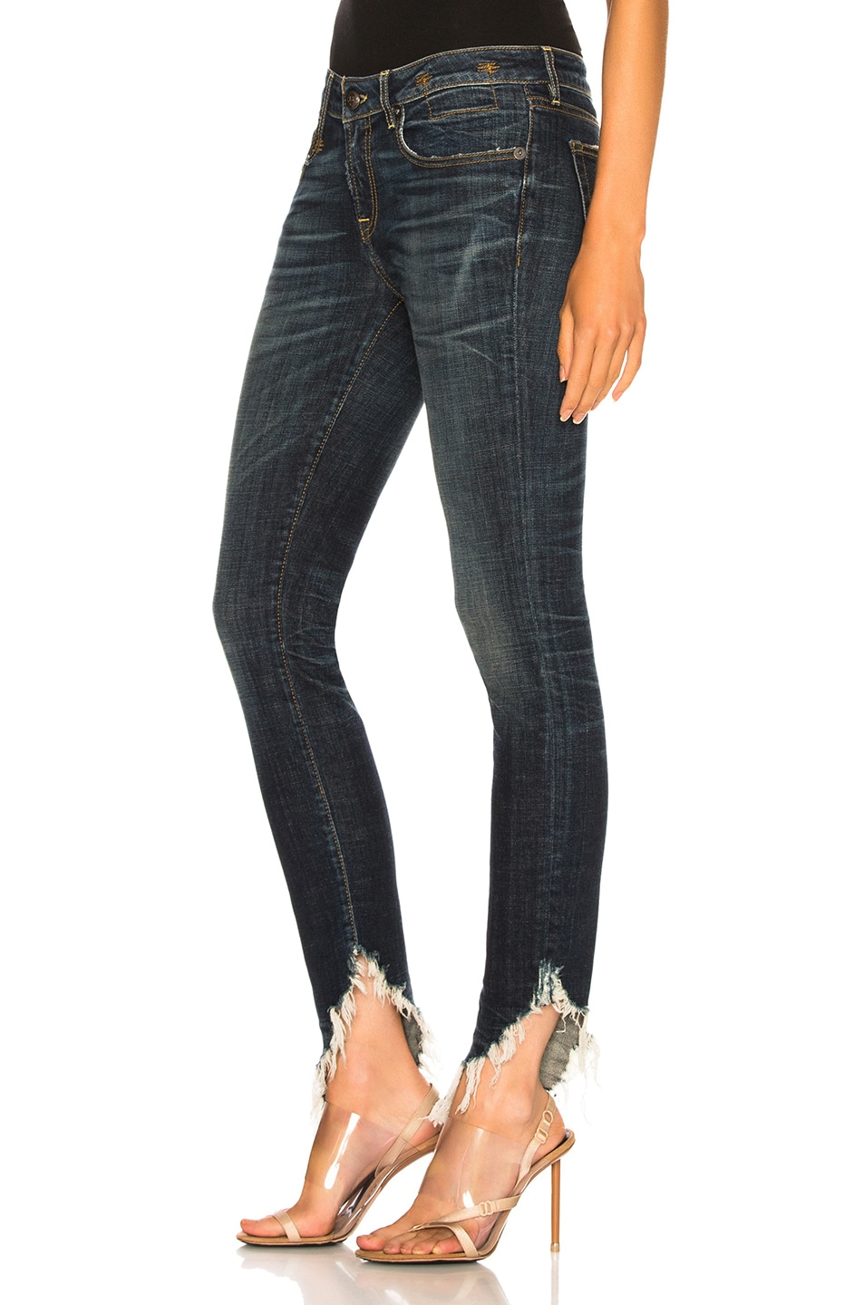 Image 3 of R13 Kate Skinny with Angled Hem in Howell Indigo