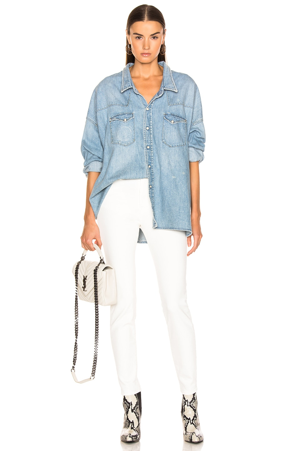Image 4 of R13 Highrise Skinny in Garret White