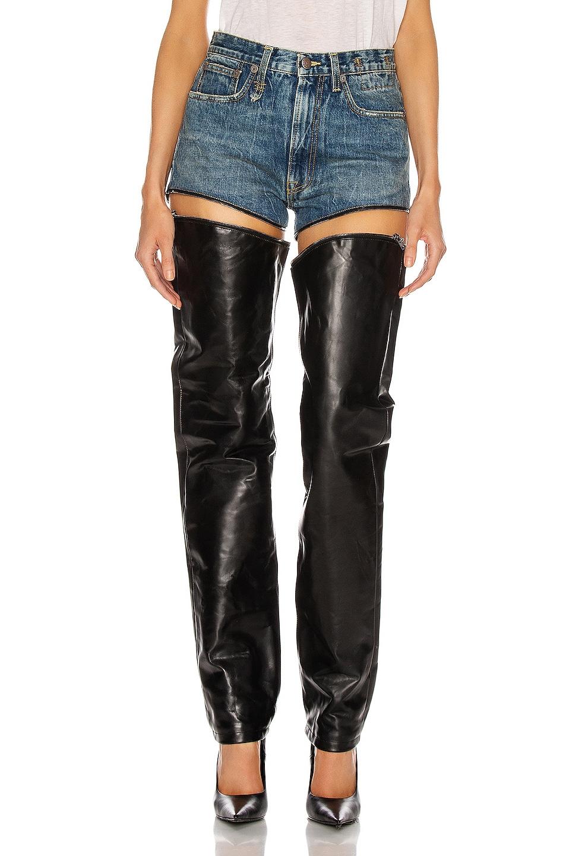 Image 1 of R13 Zip-Off Axl Slim in Kelly & Leather