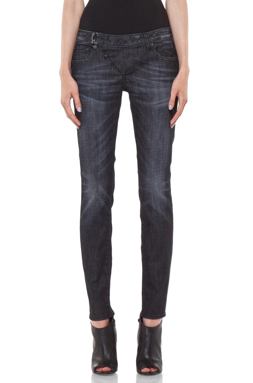 Image 1 of R13 Zip Skinny Jean in Cross Hatch Black