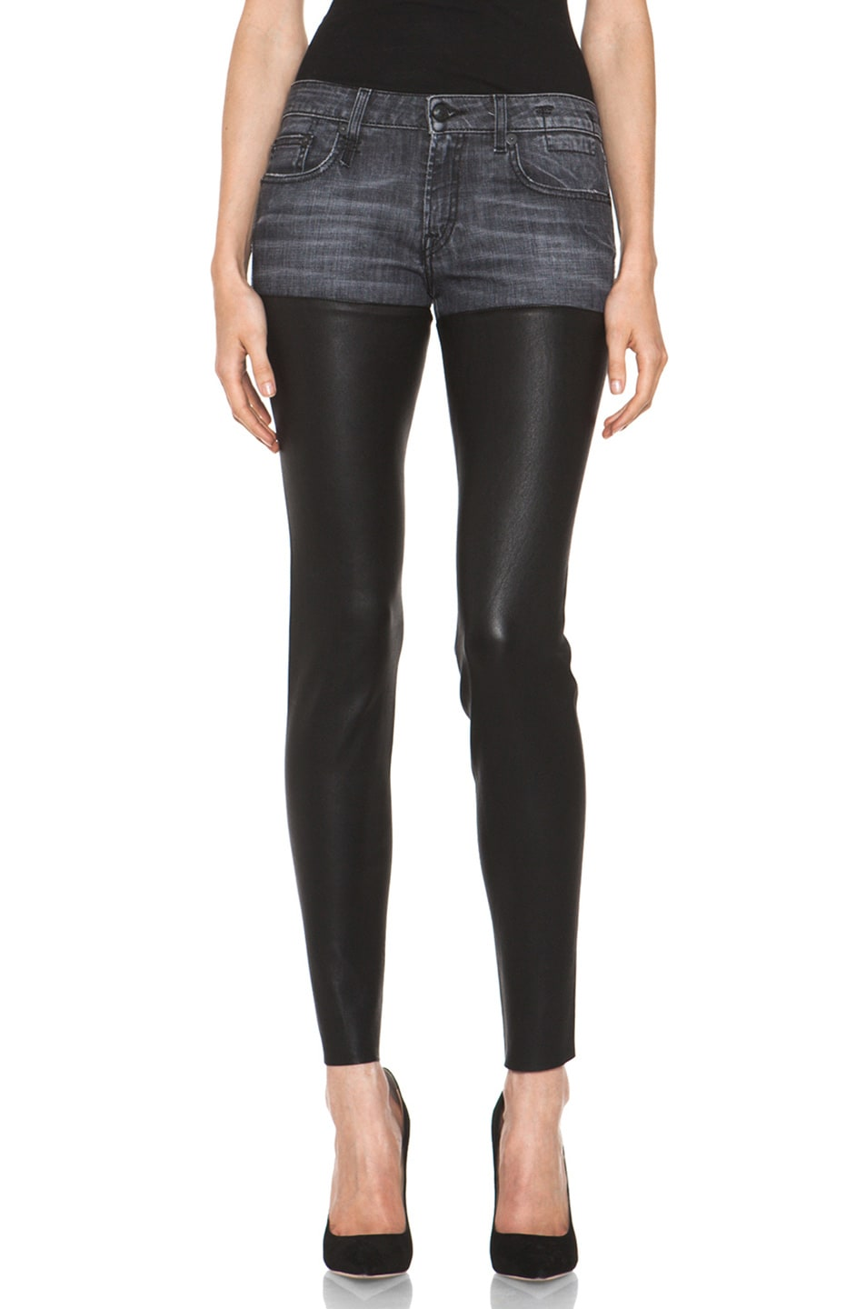 Image 1 of R13 Leather Chaps Jean in Cross Hatch Black
