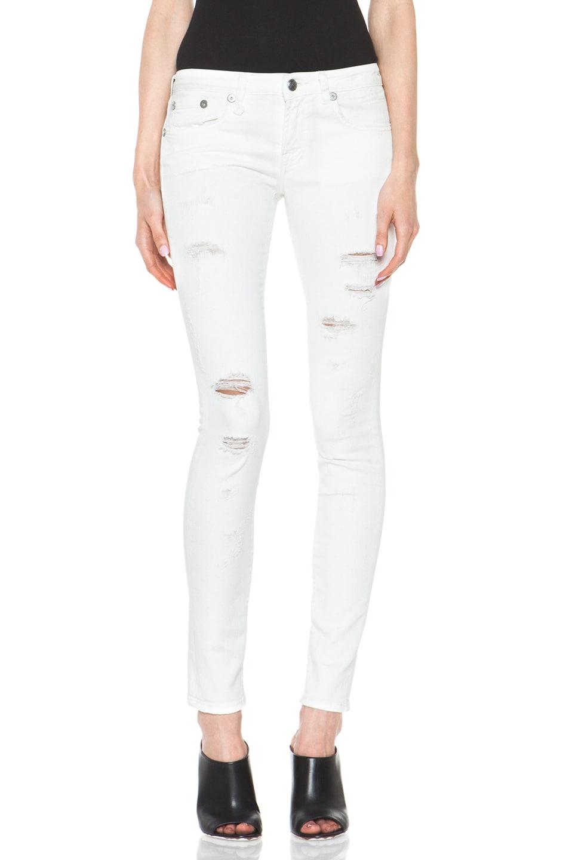 Image 1 of R13 Skinny Jean in White Shredded
