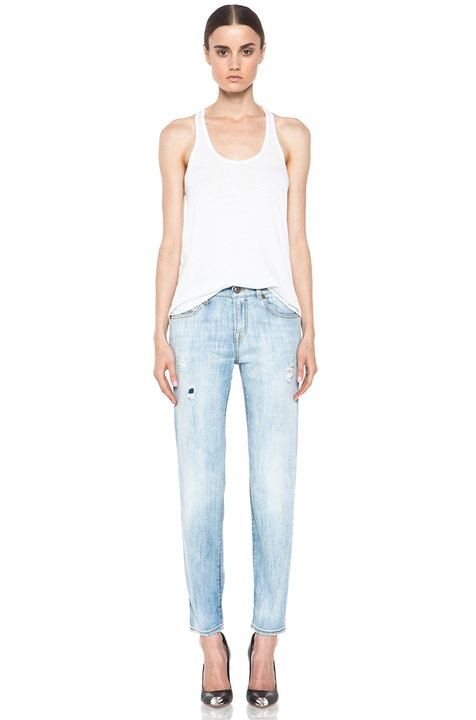 66239962bd49ea Image 5 of R13 Relaxed Skinny Jean in Faded Torn