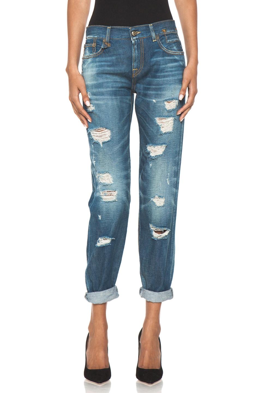 Image 1 of R13 EXCLUSIVE Shredded Medium Jean in Regular Blue Wash