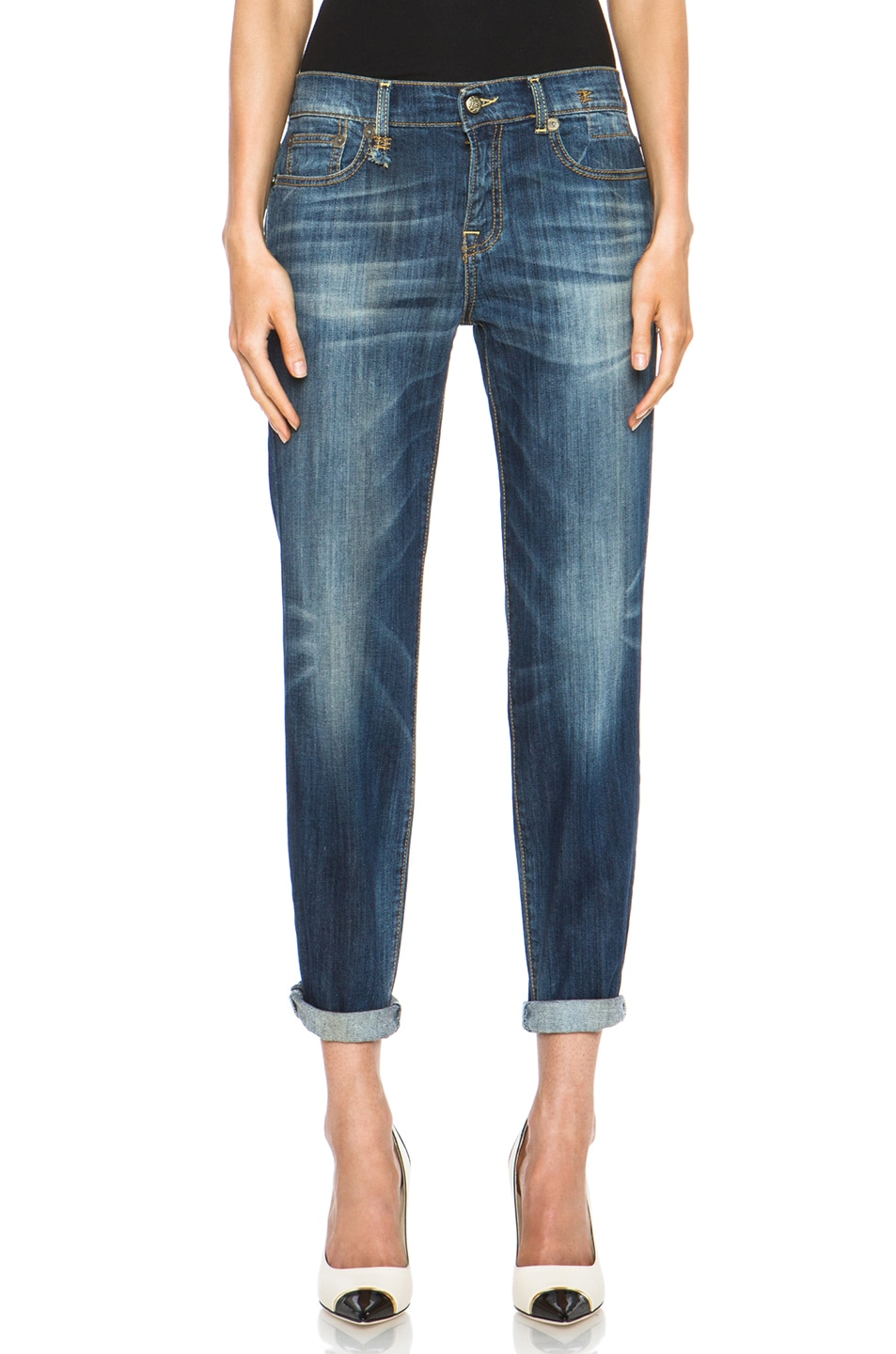 Image 1 of R13 Relaxed Skinny in Faded Blue