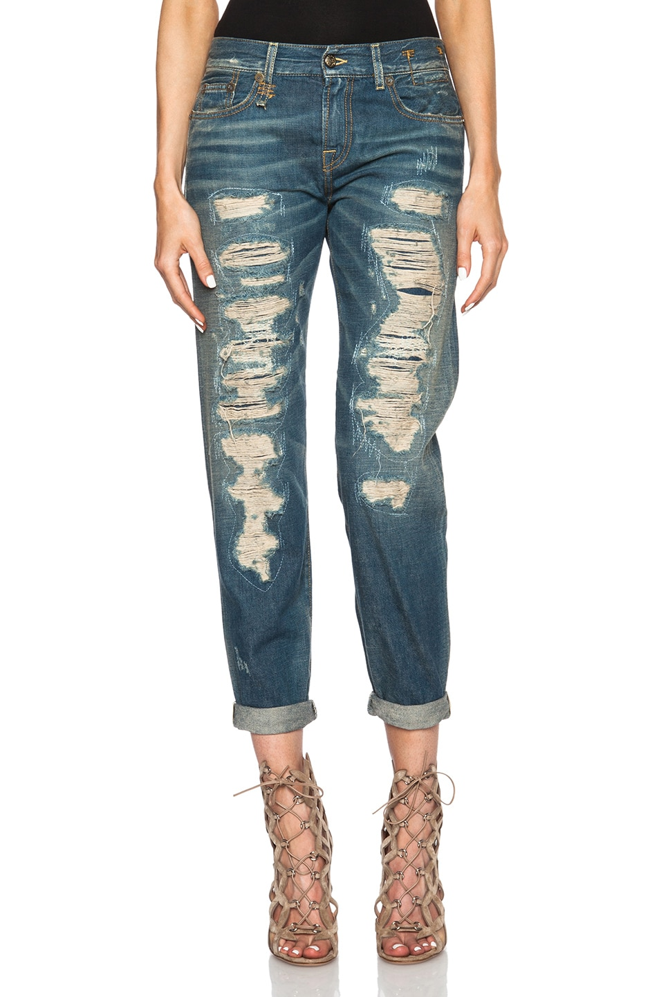 Image 1 of R13 Super Destroyed Relaxed Skinny Jean in Selvage Blue Shredded