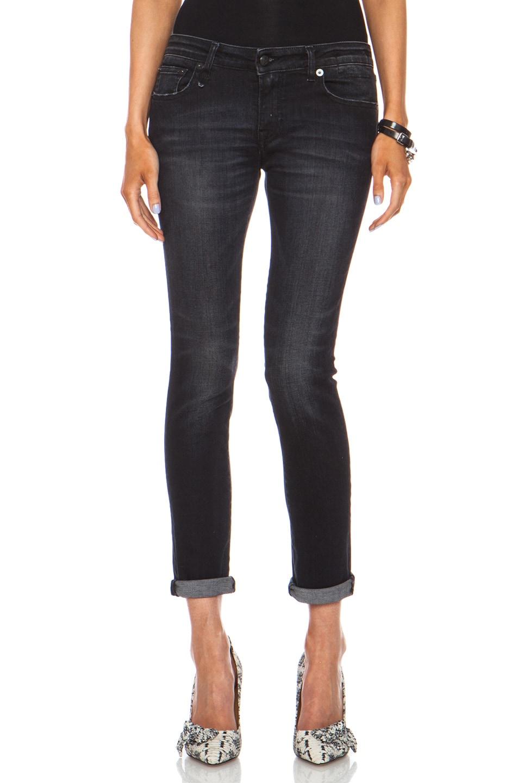 Image 1 of R13 Low Skinny Jean in Dirty Black