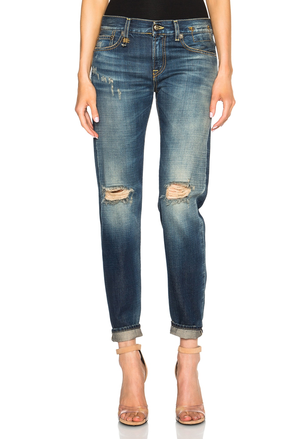 Image 1 of R13 Relaxed Skinny in Vintage Shredded