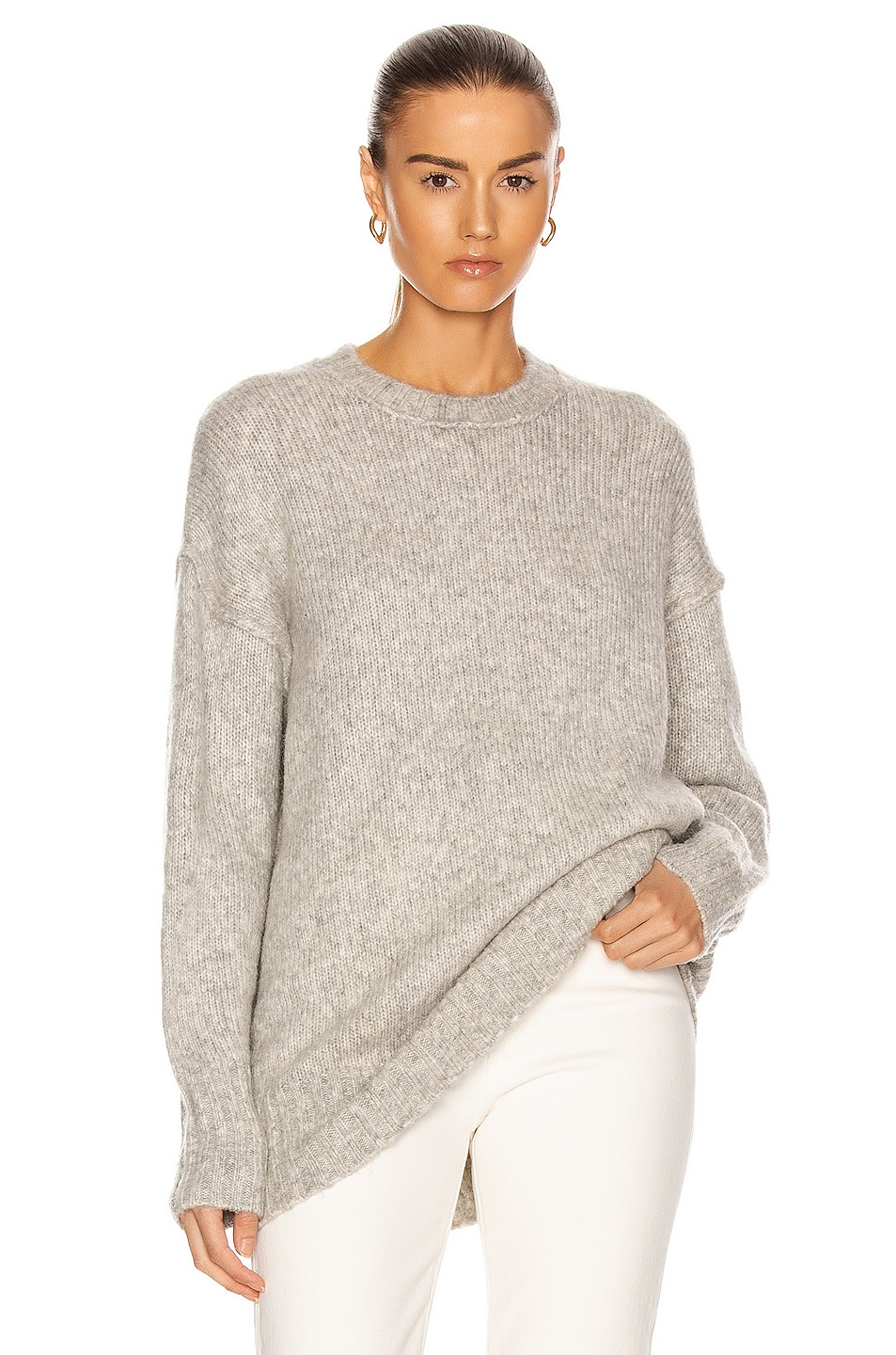 Image 1 of R13 Oversized Crewneck Sweater in Heather Grey