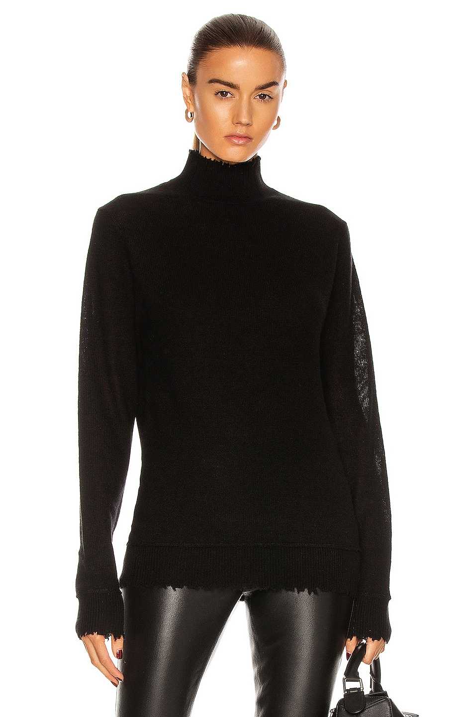 Image 1 of R13 Distressed Edge Cashmere Turtleneck Sweater in Black