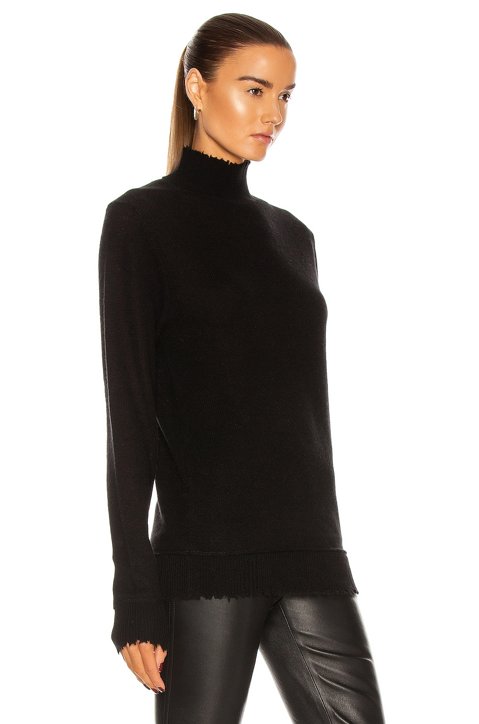 Image 2 of R13 Distressed Edge Cashmere Turtleneck Sweater in Black
