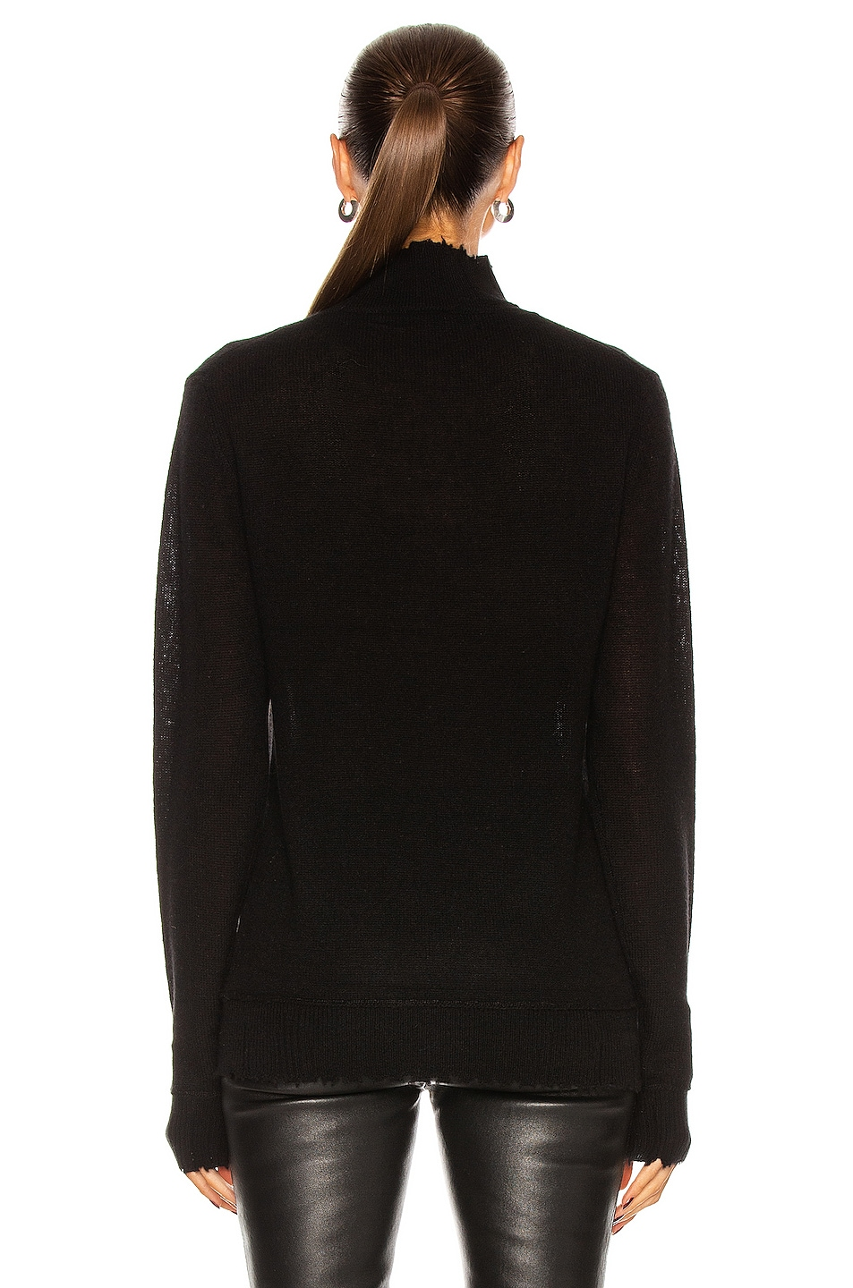 Image 3 of R13 Distressed Edge Cashmere Turtleneck Sweater in Black