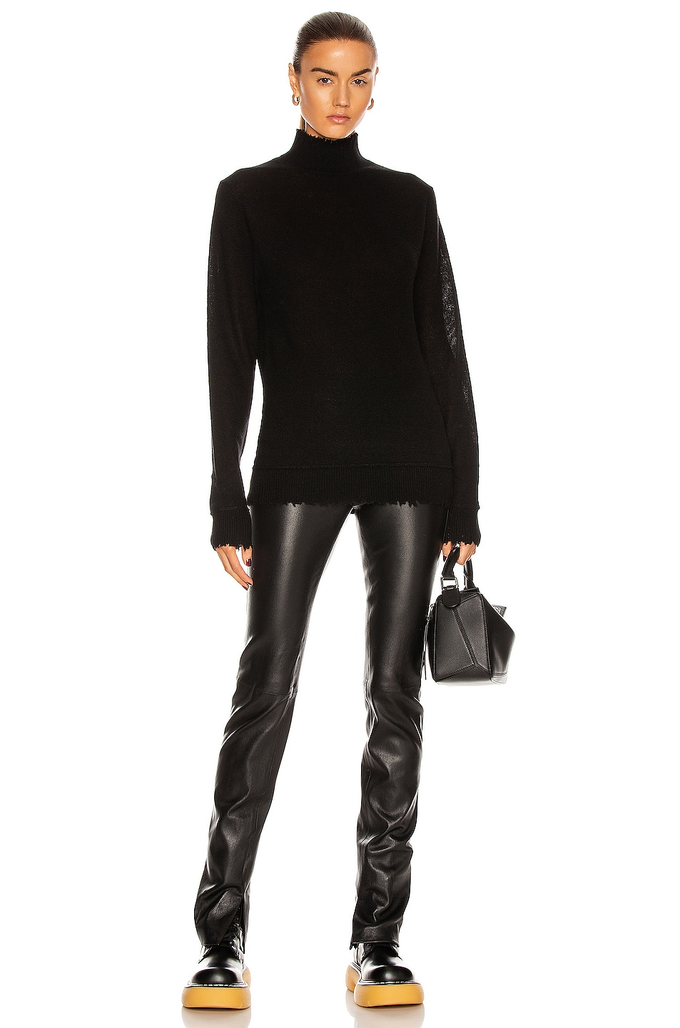 Image 4 of R13 Distressed Edge Cashmere Turtleneck Sweater in Black