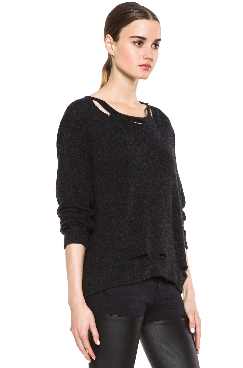 R13 Kate Wool-Blend Sweater with Holes in Black | FWRD