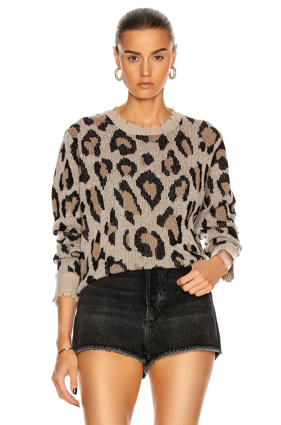Image 1 of R13 Leopard Cashmere Crewneck Sweater in Leopard