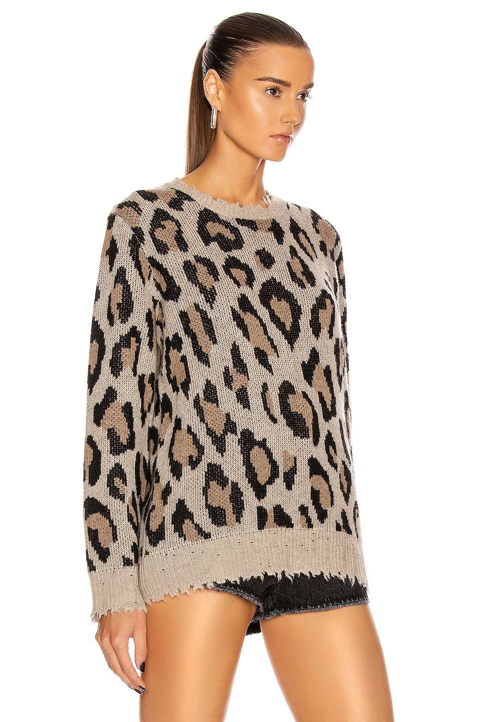 Image 2 of R13 Leopard Cashmere Crewneck Sweater in Leopard