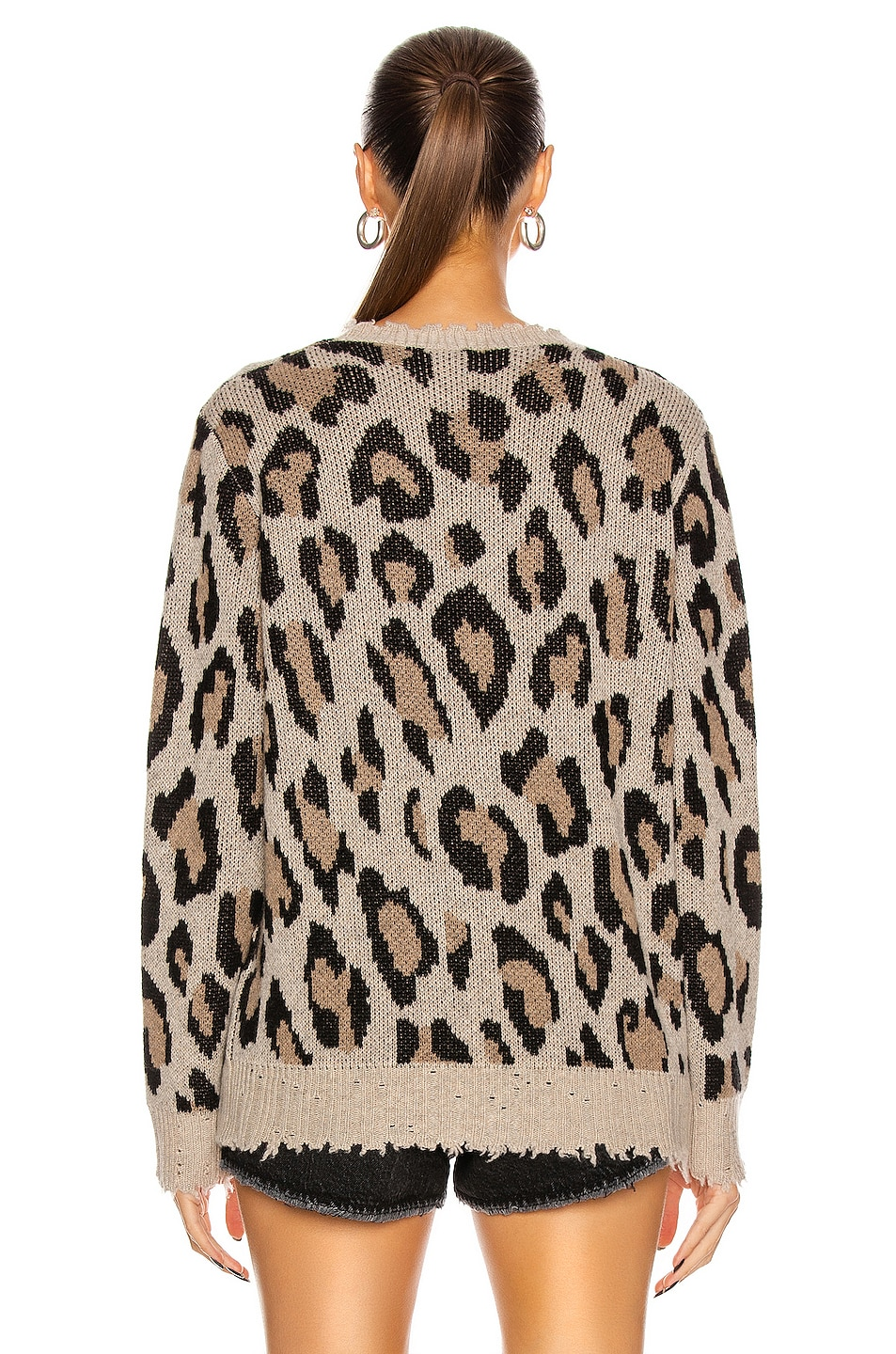 Image 3 of R13 Leopard Cashmere Crewneck Sweater in Leopard