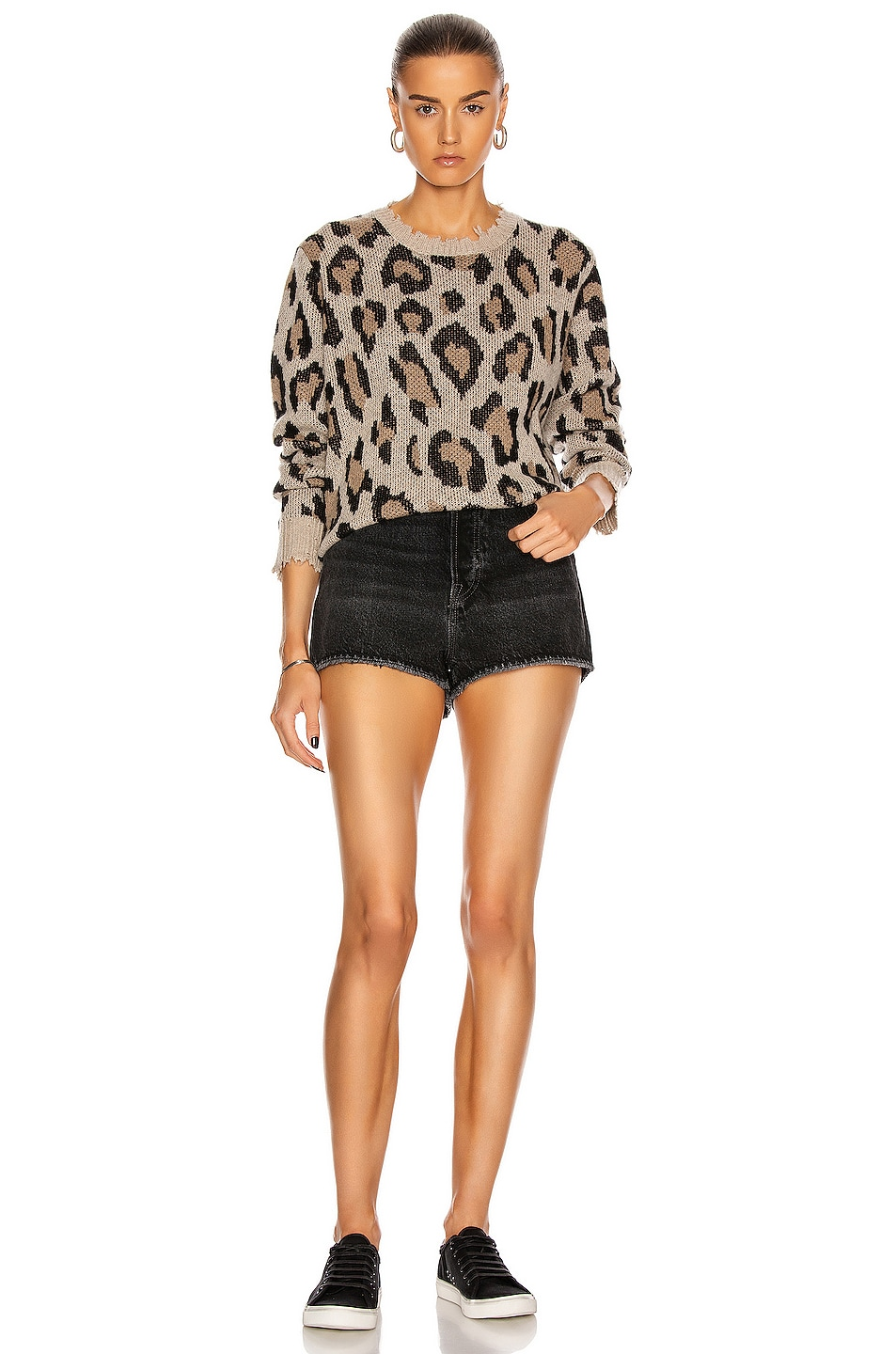 Image 4 of R13 Leopard Cashmere Crewneck Sweater in Leopard